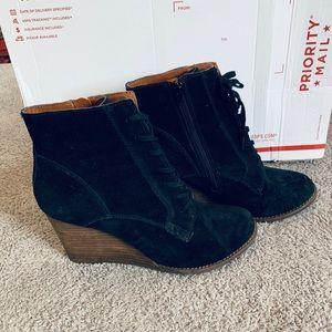 Black Suede And Wooden Wedge Heels